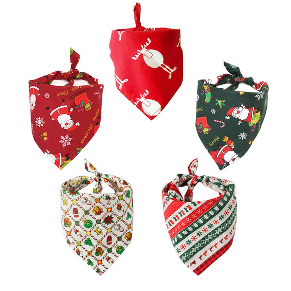 Christmas Dog Bandana Cotton Washable Winter Pet Dog Scarf Bow ties Collar Cat Dog Grooming Products Triangular Bandage
