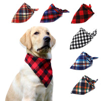 Pet Dog Cat Neck Scarf Adjustable Dog Bandana Tie Bowtie Cotton Plaid Cleaning Towel  For Dog Cat Cats Grooming Accessories