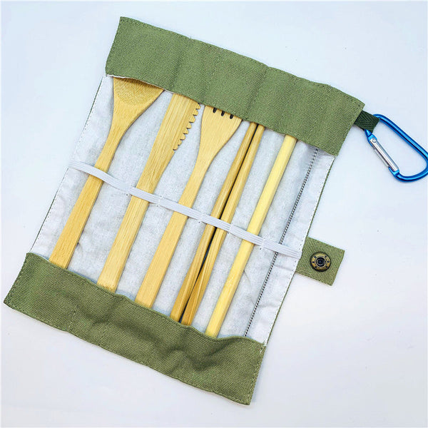Eco-Friendly Full Bamboo Utensil Set w Rugged Canvas Wrap & Carrying Clip