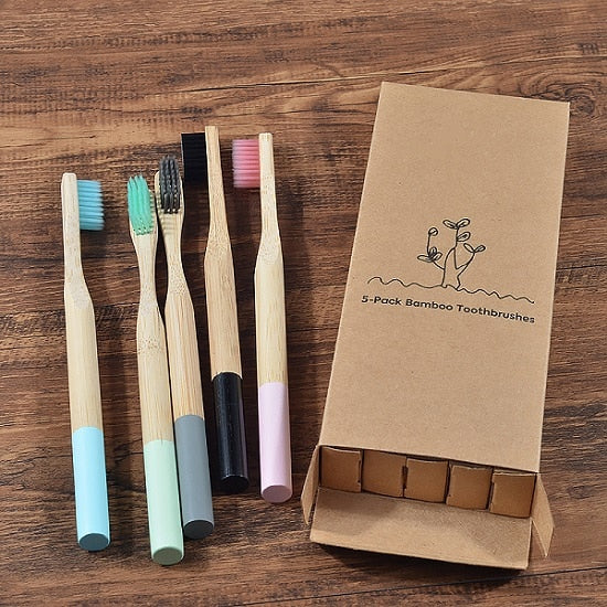 5-Pack Color Splashed Natural Bamboo Toothbrushes