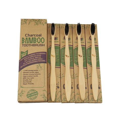 4-Pack Natural Biodegradable Bamboo Toothbrushes