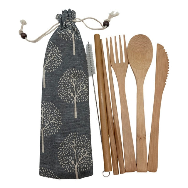 Eco-Friendly Bamboo Utensil Sets w Nature Patterns Travel Satchel