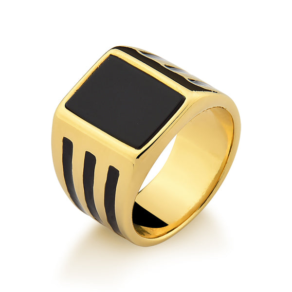 Square Gem Ring with Enamel Stripes