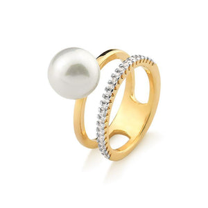 18K Gold Plated Double Band Pearl Ring with Zircon - Rio Design Europe