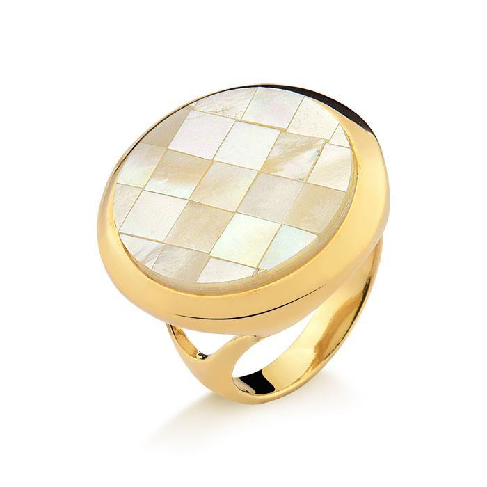 Mosaic Mother of Pearl Round Gemstone Ring