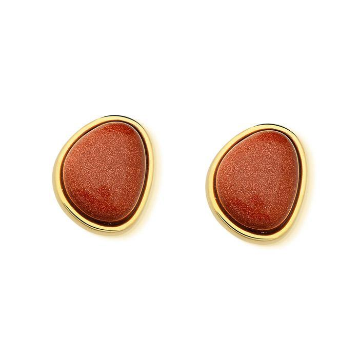 Pebble Shape Gemstone Earring - 18K GOLD PLATED BLUE GOLDSTONE