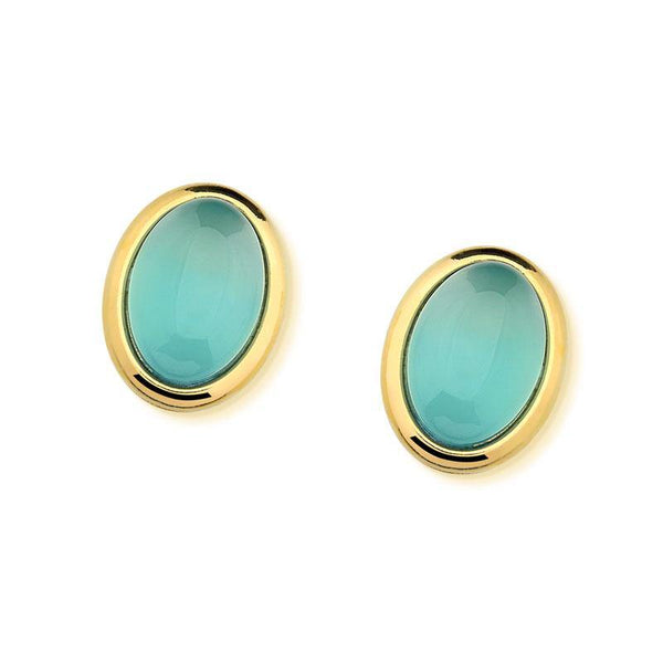 OVAL  GEMSTONE  EARRING