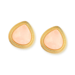 Teardrop Gemstone with Textured Frame Earring