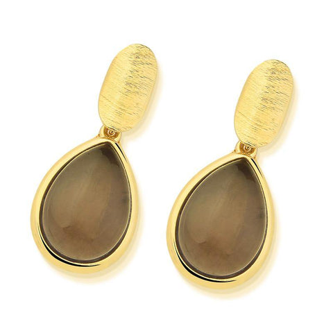 Eliptical Base Drop Gemstone Earring