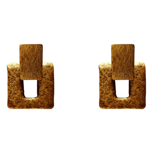 Square Frame Cold Ceramic Earring - Gold