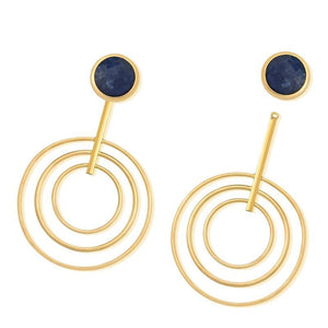 FACETED GEMSTONE EARRING WITH GOLD RINGS