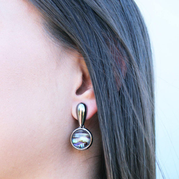 Round Drop Abalone Earring