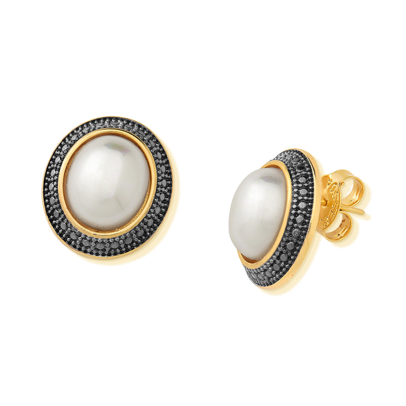 GOLD AND BLACK RHODIUM  PEARL EARRING