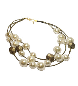 Recycled Paper and Pearl Necklace with Gold Cold Ceramic Accents
