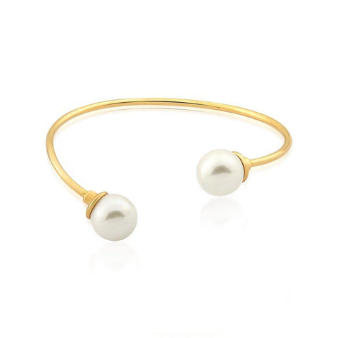 Two Pearls Open Bracelet- 18K Gold Plated
