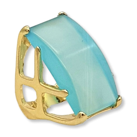 Waved Frame Rectangular Gem Ring