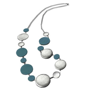COLD CERAMIC CIRCLES LONG NECKLACE - BLUE