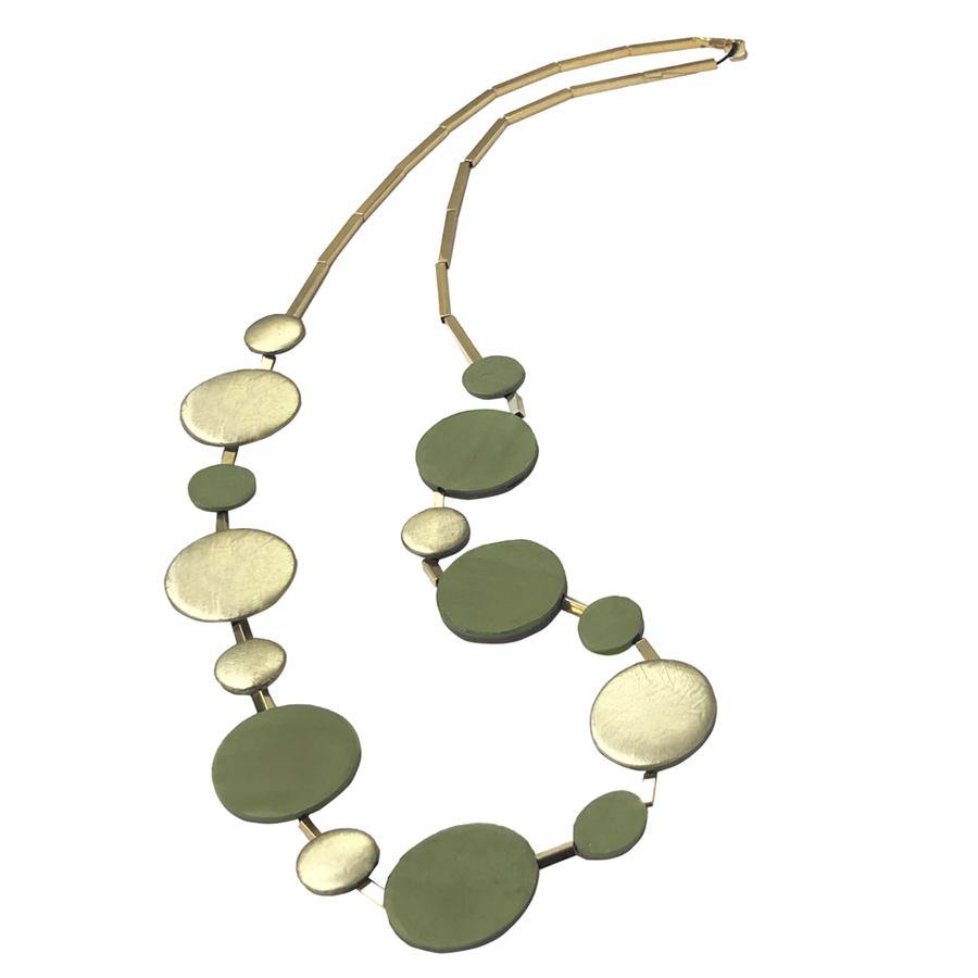 Marilia Capisani Bi-Color Ceramic Discs Long Necklace- GREEN - GOLD