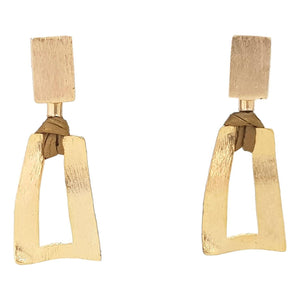 Gold Trapezium Earring with Recycled Paper - Rio Design Europe