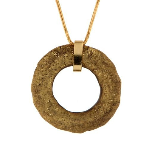 Cold Ceramic One Loop Long Necklace- Aged Gold