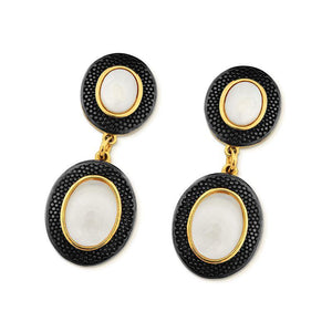Oval Drop 18K Gold Plated and Black Rhodium Framed Gemstone Earring