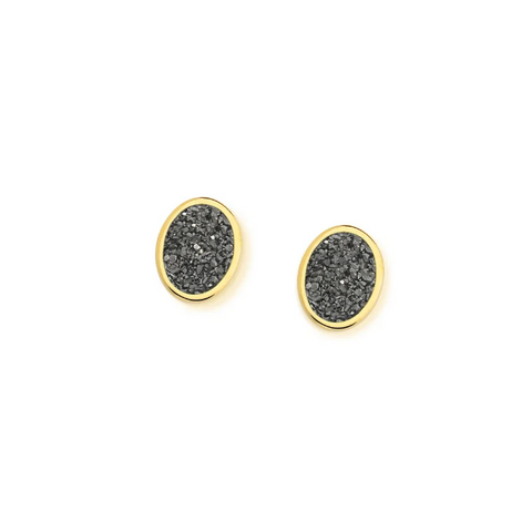 Rio Design Small Drusa Oval Earring