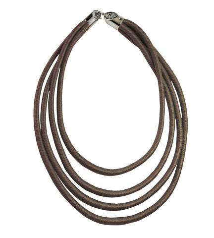 Rubber Thread Layers Necklace - Brown