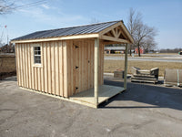 8x10 4FT Porch Amish Built Rough Sawn Shed Gable Style(Local Delivery Only)