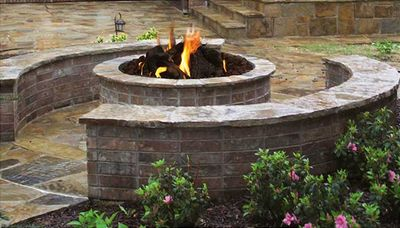 "Stone Age Manufacturing 42"" Short Round Outdoor Fire Pit Kit"