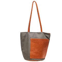 bucket, bag, leather, canvas, erin templeton, handmade, vancouver, chinatown