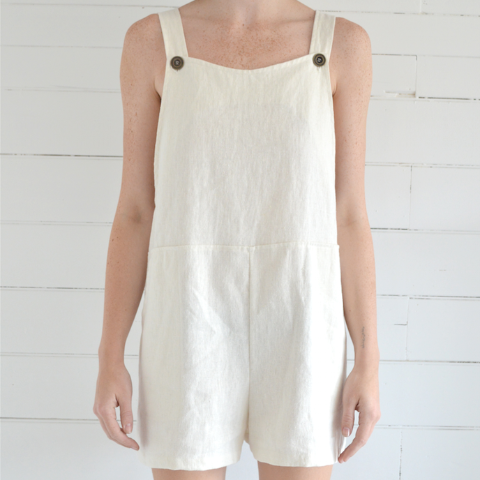 erin templeton overall shorts - white