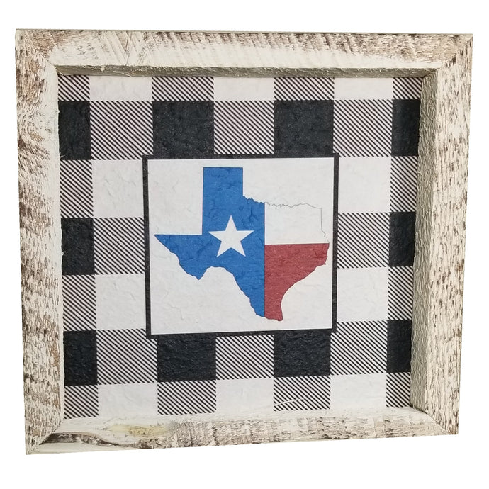 12 x 12 White/Black/Red/Blue Rough Cut Mulberry Paper Gingham Texas