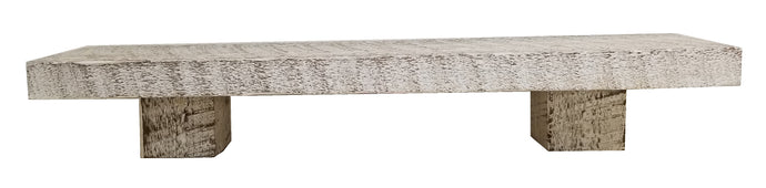 White Rough Cut Solid Wood Mini -  Mantel