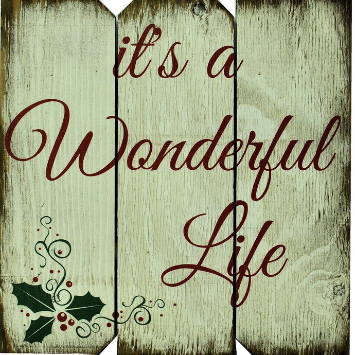16 x 16 White/Red/Green It's a Wonderful Life