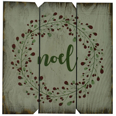 16 x 16 White/Green/Red Noel with Flowers