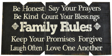 18 x 36 Black/White Family Rules (Free Shipping with Code: FREE at checkout)