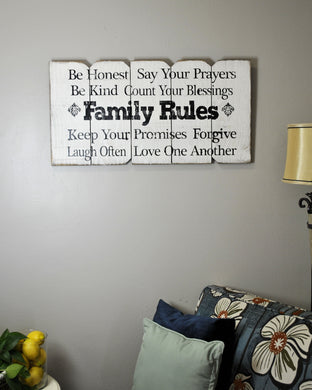 18 x 36 White Family Rules (Free Shipping with Code: FREE at checkout)