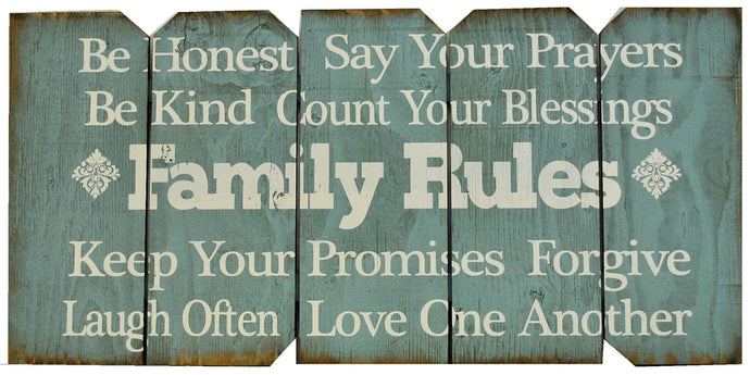 18 x 36 Tiff Blue Family Rules (Free shipping with Code: FREE at checkout)