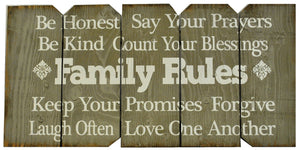 "18 x 36 Rustic ""Family Rules"" Farmhouse sign in Gray with White letters (Free shipping with Code: FREE at checkout)"