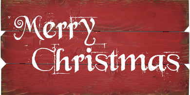 18 x 36 Red/White Scroll Merry Christmas