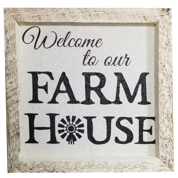 12 x 12 White/Black Rough Cut Mulberry paper Welcome to our Farm House