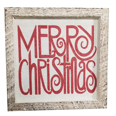 12 x 12 White/Red Rough Cut Mulberry paper Merry Christmas