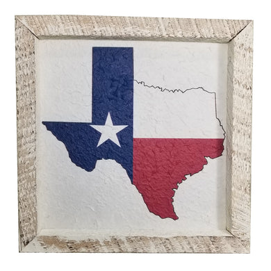 12 x 12 White/Red/Blue Rough Cut Mulberry Paper Texas State Flag