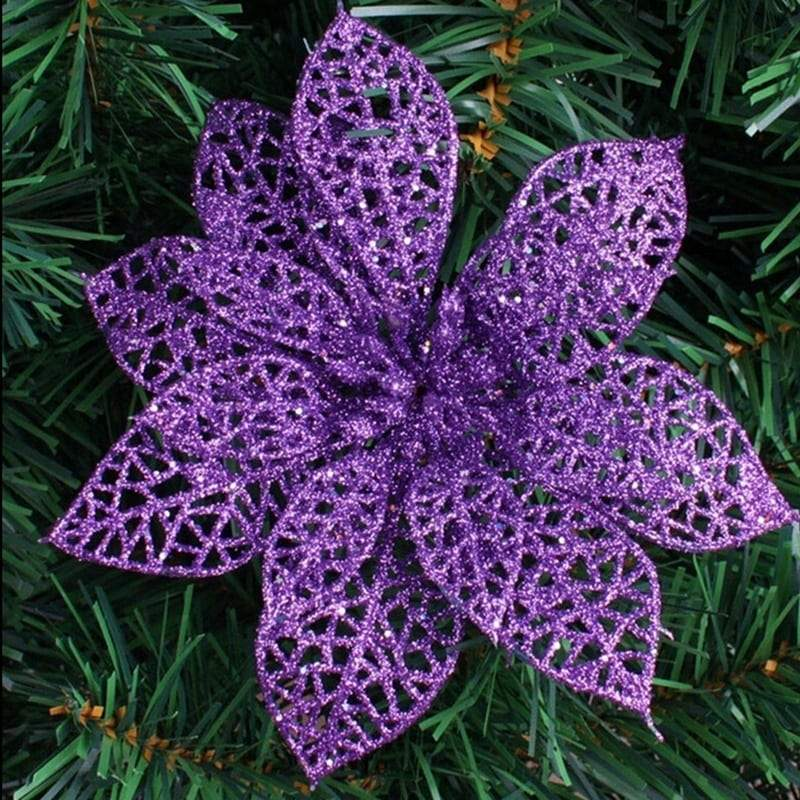 10 Pcs Christmas Flower Decorations Glitter Hollow Flowers