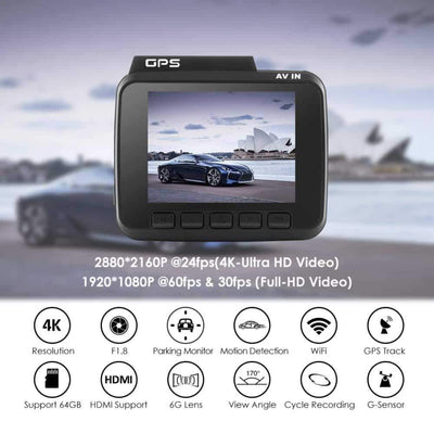 Car Camera 4k With Built In GPS and WiFi - Camcorder For Car 1