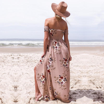 Elegant Off Shoulder Maxi Boho Summer Long Dress