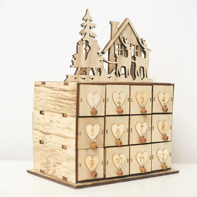 Christmas Wooden Jewelry Storage Box Natural Sundried Decor