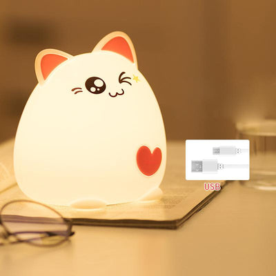 LED Silicon Cat Night Light - USB Rechargeable Baby Light