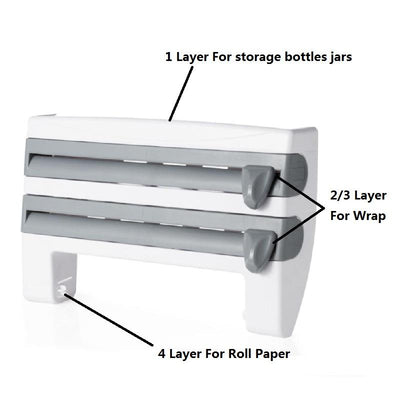 4-in-1 Wall-Mount Paper Towel Holder, cling film dispenser, aluminium foil dispenser, kitchen wrap dispenser, 4 in 1 kitchen roll dispenser, decorative shelves, best paper towel holder, 4 in 1 Kitchen Roll Dispenser - Wall Shelf with Hooks