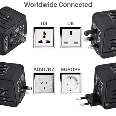 International All-in-one Travel Power Adapter 3.4A USB